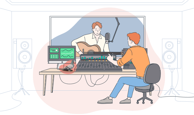two people working in a sound studio